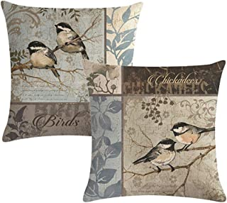 7COLORROOM Set of 4 Vintage Bird Pillow Covers Birds On The Branch with Leaves Cushion Cover Square Cotton Linen Home Deco...