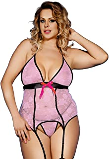 3e462bff3 Sexy Pink Lace Outfit Garter Belt Lingerie Set with Stocking Plus Size for  Women