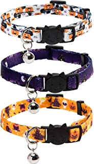 Lamphyface 3 Pack Halloween Cat Collar with Bell Breakaway Adjustable