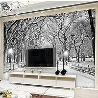 カスタム美しい森の雪の風景写真の壁紙3Dリビングルームのソファの背景の壁の壁画-150X120CM