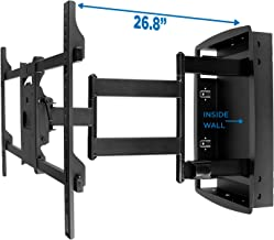 Mount-It! Recessed TV Wall Mount, Articulating Full Motion in-Wall TV Bracket for Flush Installation, 28 Inch Extended Arm Fits Screen Sizes 32, 37, 40, 42, 47, 50, 55, 60, 65, 70 inch, Up to 175 lbs