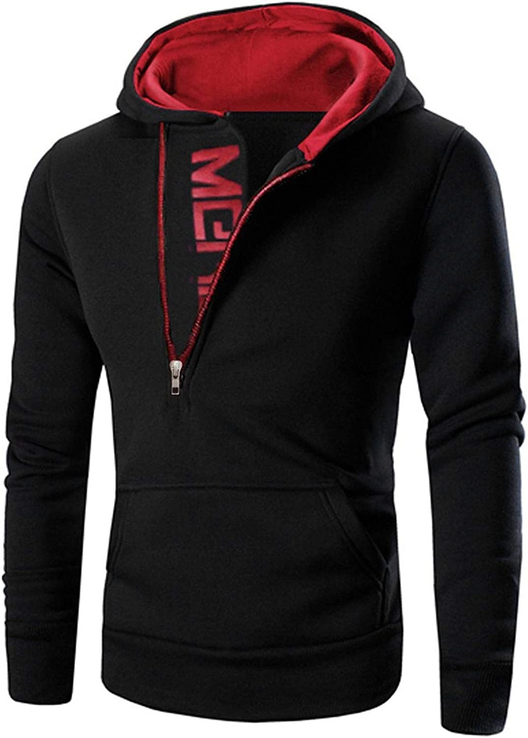 XXBR Hoodies for Mens, Diagonal Zipper Collar Letter Print Hooded Sweatshirts Patchwork Workout Slim Fit Pullover