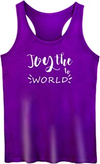 GROWYI Workout Tank Tops Racerback for Women Joy The to World Funny Saying Fitness Gym Sleeveless Shirt