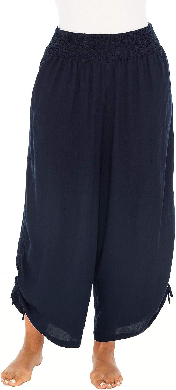 Back From Bali Womens Boho Wide Leg Loose Pants Cropped Rayon Summer Beach Pants Smocked Waist (S-4XL)