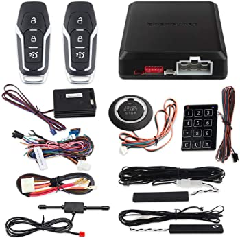 EASYGUARD EC002-FO2-NS Smart Key Passive keyless Entry Kits with Push Start Button Remote Start Password keypad Entry DC12V
