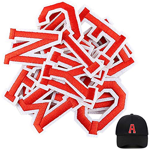 Red Letter Patches 26 Piece Iron on Letters Applique Sew on Patches Alphabet A-Z Embroidered Patches Custom Name Badge Patch DIY Craft Decorative Repair for Shoes Hat Clothing Shirts Bag