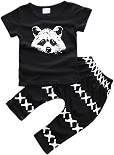 Baby Boys Clothes 2PCS Outfit Set Long Sleeve Tops with Stripped Pants