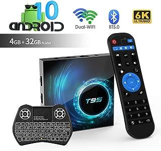 Android TV Box, T95 Android 10.0 TV Box 4GB RAM / 32GB ROM H616 Quad Core 64 bits, Soporta 2.4G + 5G Dual WiFi BT5.0 6K 3D H.265 Smart TV Boxes con Mini Teclado inalámbrico retroiluminado