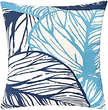 Homey Cozy Outdoor Accent Pillow Cover,Tropical Leaf Vein Large Water/UV/Stain-Resistance Decorative Replacement Cushion Cover 20x20, Cover Only