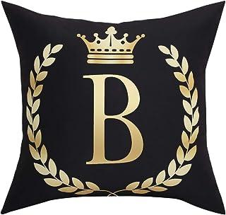 Black Pillow Cover Throw Pillow Case English Alphabet B Throw Pillow Case Modern Cushion..