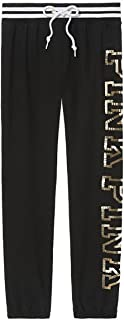 Victoria`s Secret Pink Bling Classic Pant Sweatpant, Black Gold Sequin, X-Small