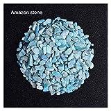 WSJKL 50G Natural Crystal Crystal Cuarzo Roca Curación Piedra Triturada Curación Reiki Piedras Gemsales para El Acuario De Jardín Plantas De Decoración (Color : Amazon Stone, Size : 50g)