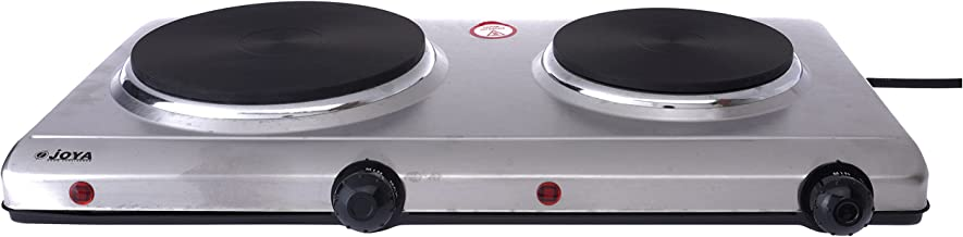 JOYA Electric Double Hot Plate Burner   Kitchen Hot Plates Cooking Temperature Control with Quality Certificate, SILVER, 2...