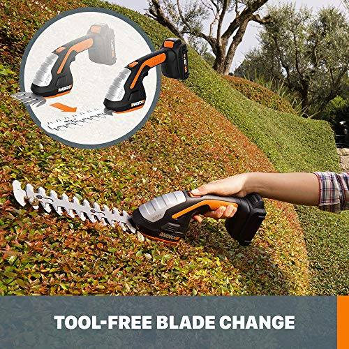 Worx WG801 20V Shear Shrubber Trimmer, Battery and Charger Included,Black and Orange