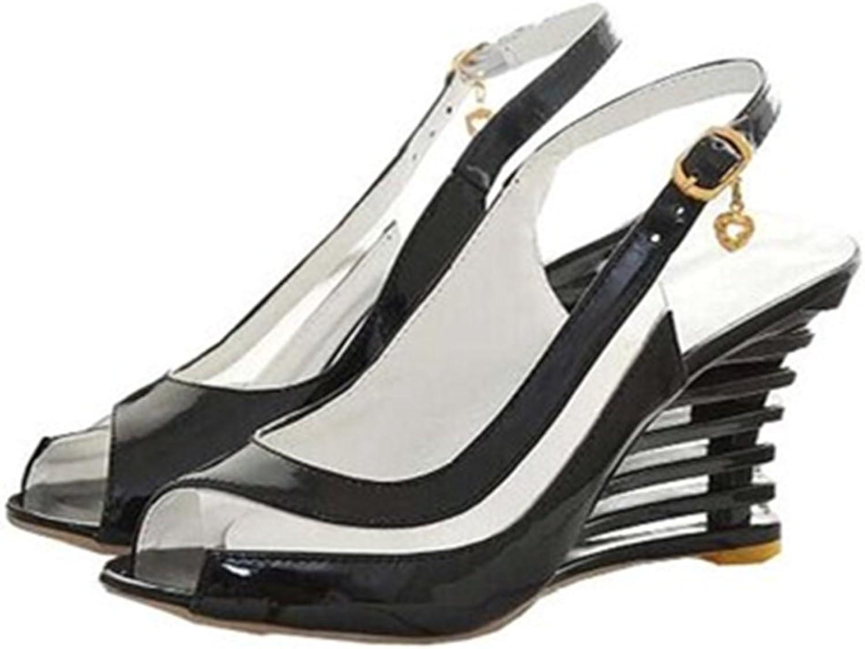 Fashion Heel High Wedge Heel Peep Toe Slingback Patent Sexy Summer Sandals