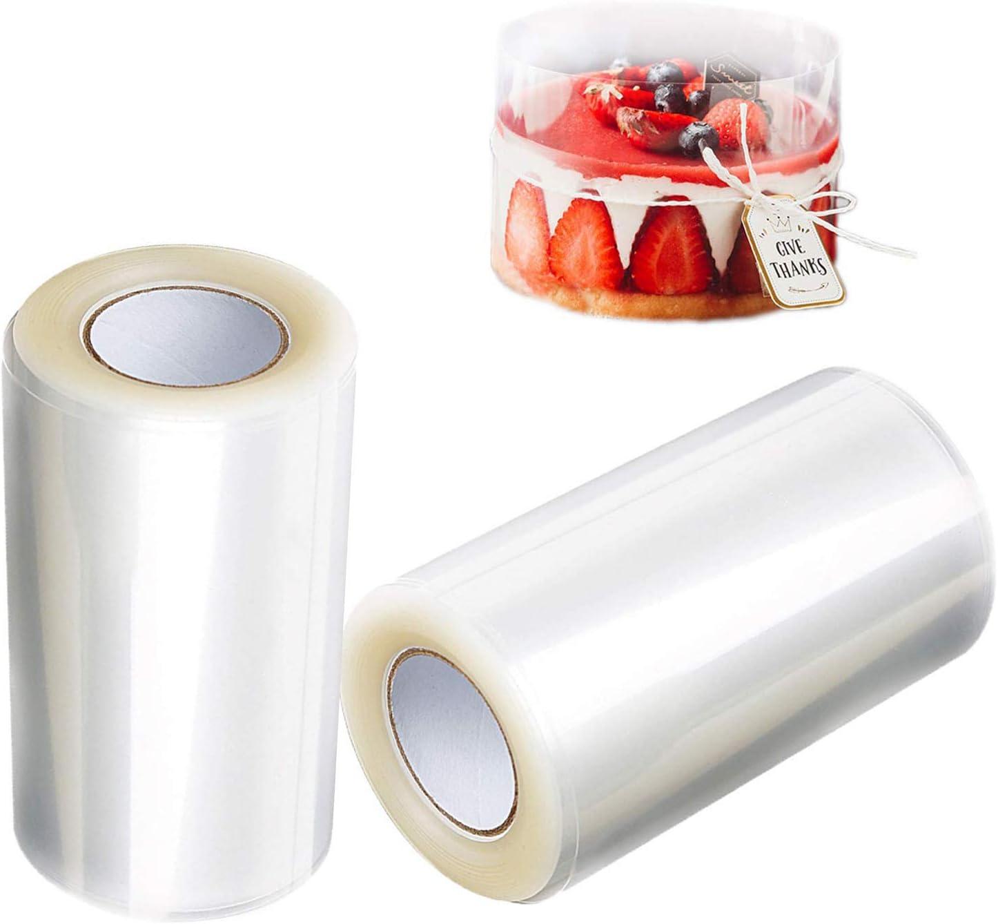 2 Rollos Collares para Tartas, 8cmx10m Transparentes Acetato Rollo, Cinta de Envoltura de Borde de Pastel, para Hornear, Mousse Para, Pastel y Chocolate Decoración