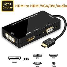 Adaptador HDMI, Visualización Sincronizada 1080P HDMI a VGA DVI HDMI Audio Convertidor de Video 4 en 1 con Cable Micro USB Adaptador Multipuerto