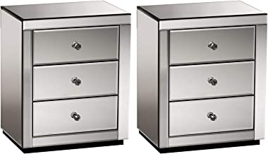 Artiss Bedside Tables Set of 2, Mirrored Sofa Side Tables, Smoky Grey