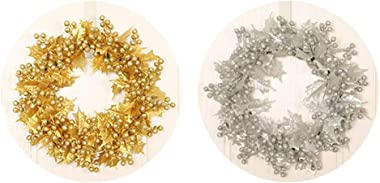 Meiyum Christmas Wreath, Elegant Champagne Gold Christmas Wreath for Front Door with Shatterproof Ball Ornaments for Home Wal