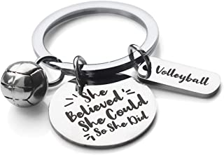Inspirational Motivational Quotes Stainless Steel Key Chain Ring - She Believe She Could So She Did Volleyball Keychain Vo...