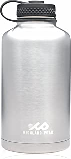 Highland Peak 64 oz Stainless Steel Insulated Water Bottle and Beer Growler by Wide Mouth Canteen - Hot and Cold - BPA Free Metal Thermos Flask