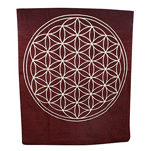 BioTextilien-Allgäu Decke mit der Blume des Lebens aus Reiner Bio-Baumwolle (Rotbuche/Natur)
