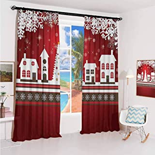 GUUVOR Christmas Sunshade Sunscreen Curtain Winter Holidays Theme Gingerbread House with Trees and Snowflakes Artwork Print Soundproof Shade W100 x L84 Inch Red White