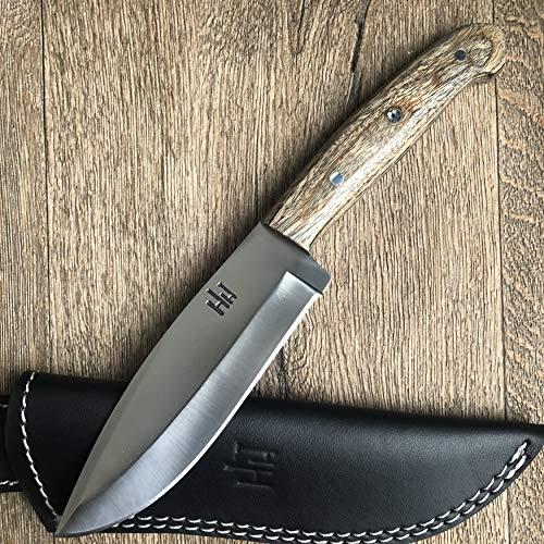 Hobby Hut HH-316 | Benutzerdefinierte handgefertigte 26.67 cm, 420C Stahl Jagdmesser mit Scheide | Feststehende Klinge, Micarta-Griff | Lederscheide | Entwickelt für Jagd und Camping