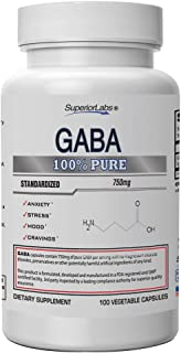 Superior Labs | GABA Supplement 750mg | Maximum Strength Mood Enhancement | Natural Relief of Stress & Simple Nervous Tension, Promotes Mood Balance, Sleep Quality, and Natural Brain Function.