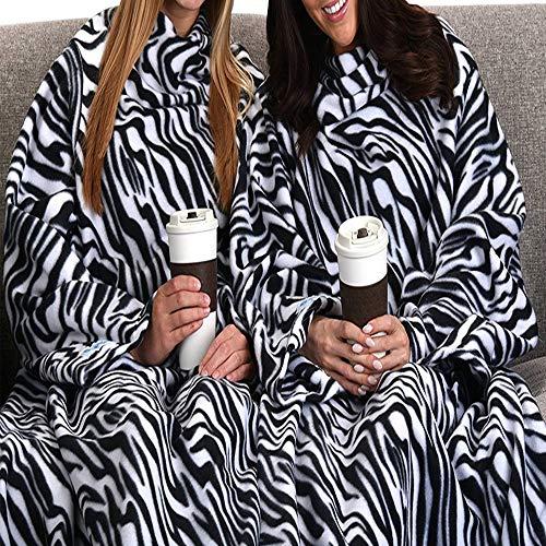 TV Manta para Adultos, 137 * 180cm Manta de Forro Polar con Mangas Suave y Cálido Mujer para ver Televisión, Leer