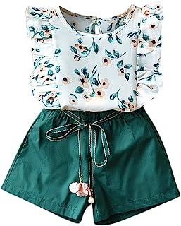 Luckycat Conjuntos de Ropa Niños Suaves niñas Verano T-Shirt + Pantalones Cortos Conjunto Ropa Niña Verano 2 a 7 años 3PC ...