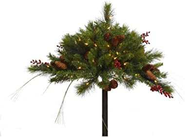 """Vickerman 16"""" Mixed Berry and Cone Urn Filler with 100 Clear Lights"""