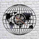 YHZSML Mapa de Viaje EE.UU. Reloj de Pared Mapa del Mapa Mundial Reloj de Pared con Registro de Vinilo Tierra Relojes de Pared 3D Relojes Mapa de Nashville Banner