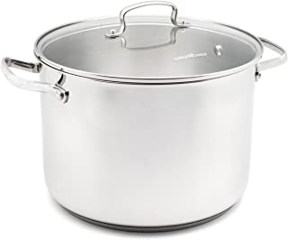 GreenChef CC000874-001 Profile Plus Stainless Steel 100% ToxinFree Healthy Ceramic Nonstick Metal Utensil/Induction/Dishwasher/OvenSafe Casserole/Stock Pot with Lid - 24cm - 7.6L - Silver