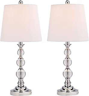 CO-Z Elegant Table Lamps Set of 2, Modern Bedside Light for Living Room Bedroom Accent, 26 Inches Crystal Table Lamp, Clear with White Drum Shade, Glam Stacked Crystal Ball Chrome Metal Base, UL.