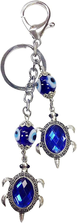 Crystal Florida CF76881326 Evil Eye Key Chain with Two Turtles ,Nazar Kabbalah, Handmade in Turkey, comes in elegant Gift Box by Crystal Florida