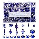 Super Set Multi-Size Crystal Nail Rhinestones Taladro Pluma Varias formas U?as 3D Decoraciones art¨ªsticas Accesorios SS4-12-Estados Unidos, Juego de zafiro