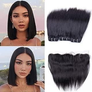 Brazilian Straight Human Hair Bundles with Frontal Closure 10A Unprocessed Brazilian Virgin Hair Straight 3 Bundles with 13x4 Ear to Ear Lace Frontal (10 10 10+8) Short Human Hair Weaves