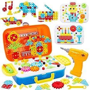 Buyger 5 en 1 Juguetes Montessori Puzzles 3D Mosaicos Infantiles Bloques Construccion Herramientas con Taladro Eléctrico Juguetes Educativo Regalos para Niños Niñas Infantiles