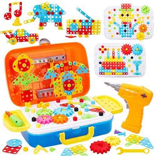 Buyger 5 en 1 Juguetes Montessori Puzzle 3D Mosaicos Infantiles Bricolaje Construccion Herramientas para Niños con Taladro Eléctrico Educativo Regalos para Niños Niñas Infantiles 6 7 8 Años