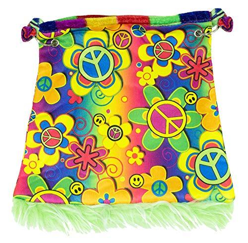 Bolso hippie Flower Power – Bandolera estilo hippie años 70, para carnaval, fiesta temática, disfraz hippie