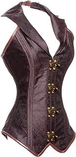 Women's Steampunk Rock Retro Halter Spiral Steel Boned Vest Corset Top