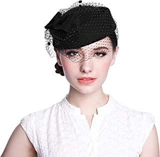 Pillbox Hat, Wedding Hat with Veil Vintage Bow Fascinator Hats for Women …