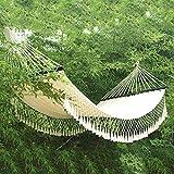 Hamaca de lona encaje al aire libre hamaca de lona al por mayor acampar al aire libre ocio columpio interior borla hamaca de lona de algodón @ white_200 * 150cm