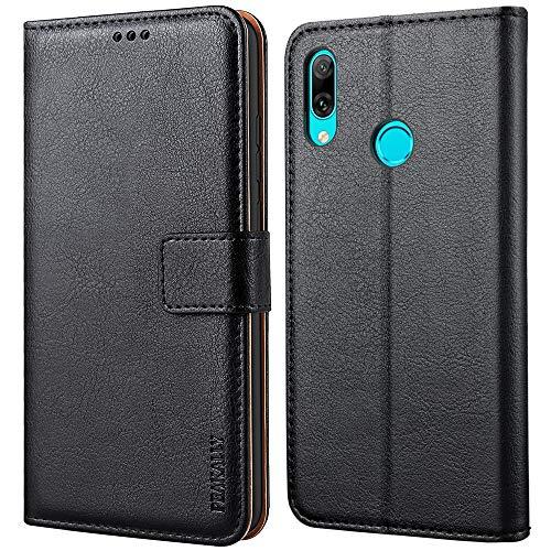 Peakally Handyhülle für Huawei P Smart 2019 Hülle, Premium Leder Flip Hülle Tasche Schutzhülle Brieftasche Klapphülle [Kartenfächer] [Standfunktion] [Magnet] für Huawei P Smart 2019-Schwarz