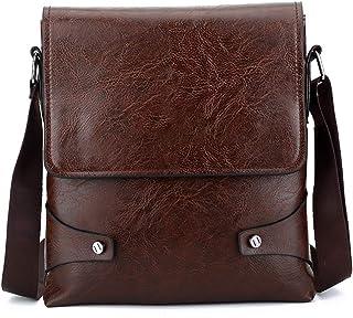 Messenger Bag for Men, PU Leather Crossbody Bag Work Briefcase Satchel Shoulder Sling Bag,Orange