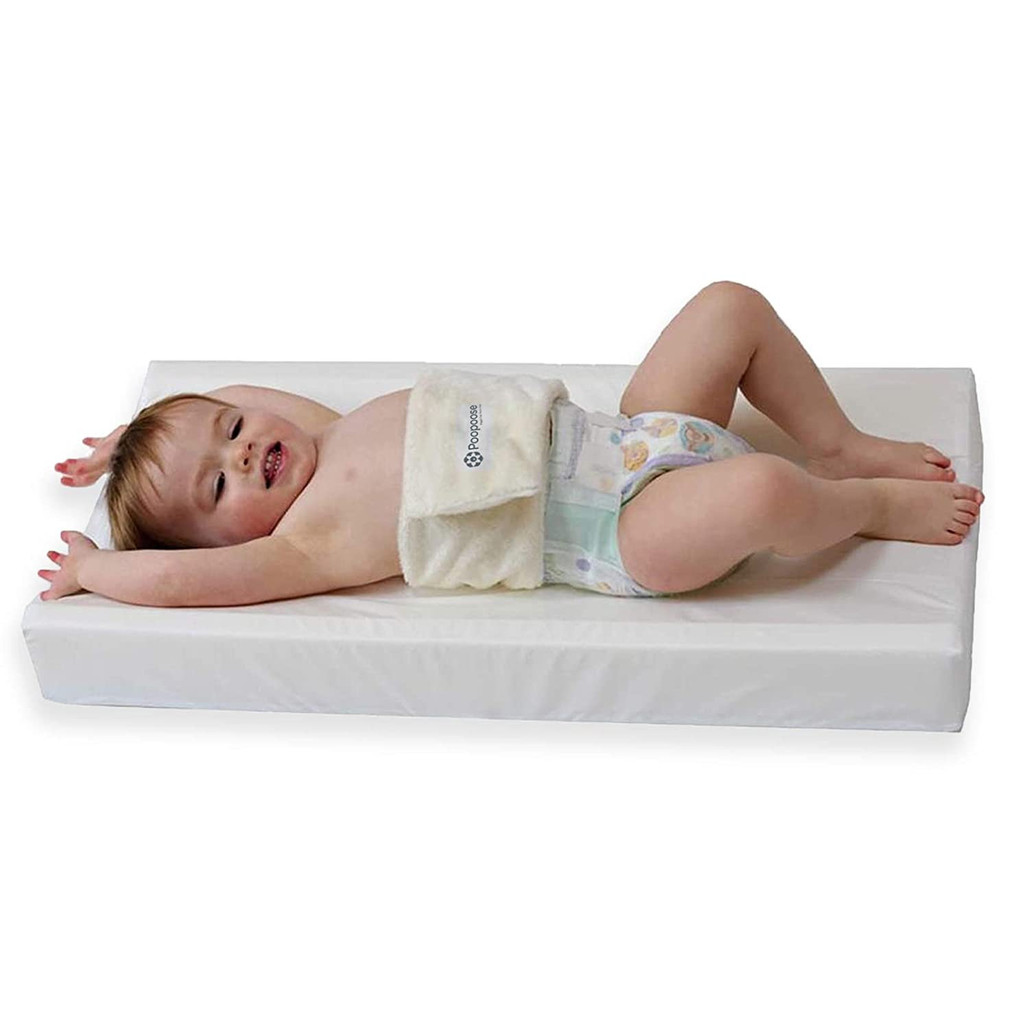 PooPoose Baby Changing Pad - Diaper Mat for Table, Dresser, Change Station, Soft & Secure, White