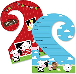 2nd Birthday Farm Animals - Shaped Fill-in Invitations - Barnyard Second Birthday Party Invitation Cards with Envelopes - Set of 12