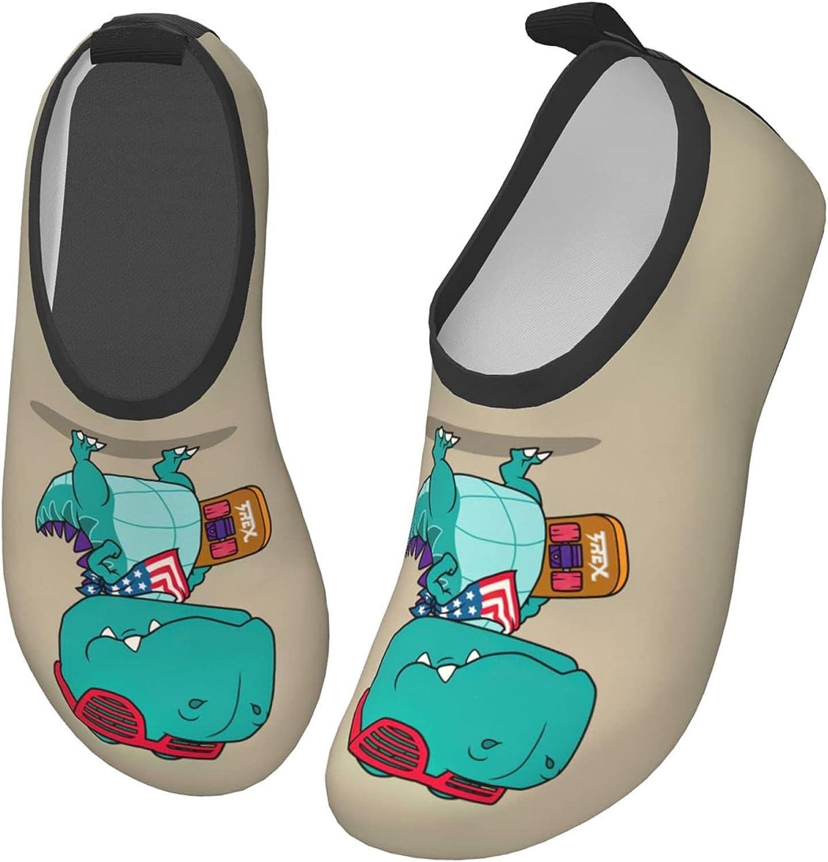 Bluebluesky Cool Dinosaur with Skateboard Kids Swim Water Shoes, Non-Slip Quick Dry Barefoot Aqua Pool Socks Shoes for Boys & Girls Toddler