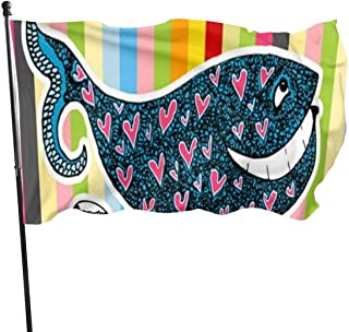 Viplili Banderas, Cartoon Whale Color Strip Fly Breeze 3x5 Ft. Polyester, Fade-Resistant and Durable Decorative Banner with Head and Brass Grommets for Easy Removal